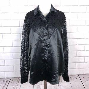 Vintage Banjo DALLAS Black Western Shirt 2X Lace
